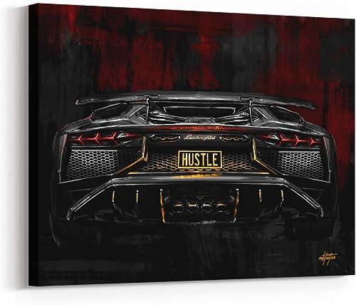 Inktuitive 'Hustlin Bull' Inspirational Wall Art w/Black Frame   Luxury Lambo Canvas Print   Motivational D cor