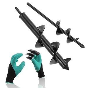 COMOWARE Garden Auger Spiral Drill Bit Set- 3'' x 12