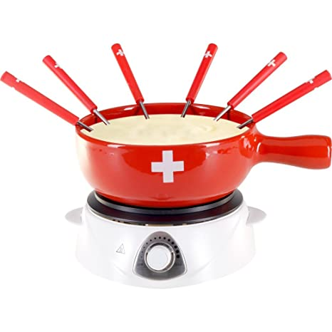 Servicio de fondue con hornillo eléctrico – 8 piezas – rojo con cruz suiza