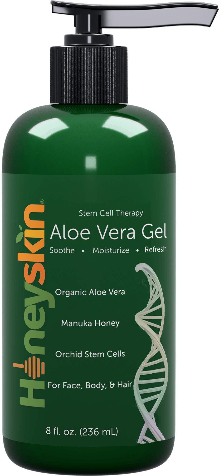 Organic Aloe Vera Leaf Gel - Face and Body Moisturizer for Sensitive Skin with Manuka Honey, Apple & Orchid Stem Cells - Hydrating Gel for Sunburn, Acne, Eczema, Psoriasis, Dry Skin & Scalp (8 oz) by Honeyskin Organics