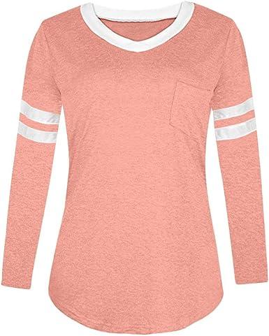 FAMILIZO_Camisetas Mujer Manga Larga Verano Tops Mujer Primavera Camisetas Mujer Rayas 2018 Otoño Casual Camisetas Basicas Mujer Algodon Mujer Fiesta Blusas ❤️S~XL: Amazon.es: Ropa y accesorios