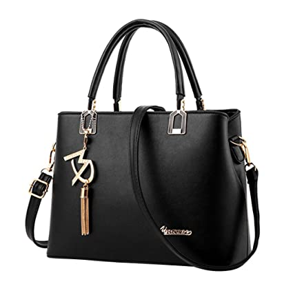 Kim88 Women Handbag Ladies Bag Simple Solid Color Shoulder Bag Large Bag  Messenger Bag (Black 3a417b64e87bf