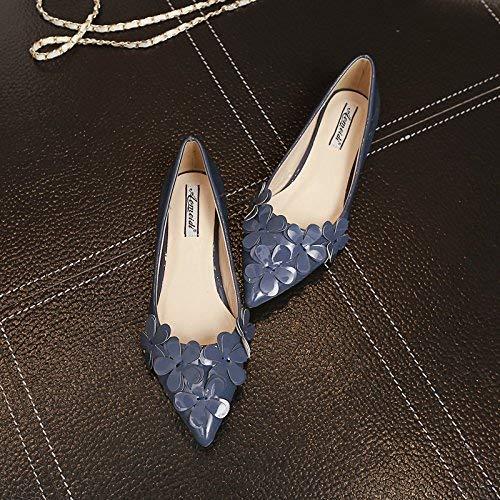 37 Rosa Bajo Mujer Flores 39 Calzado Azul Negro Planas De Zapato Gris Un Hhgold Tamaño Solo Puntas Zapatos color Ligero Con FTSSxq