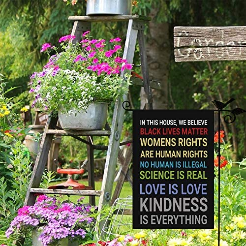 SHENIFY in This House, We Believe Garden Flag - Double Sided Banners for Outdoor Indoor Home Garden Yard Decorations