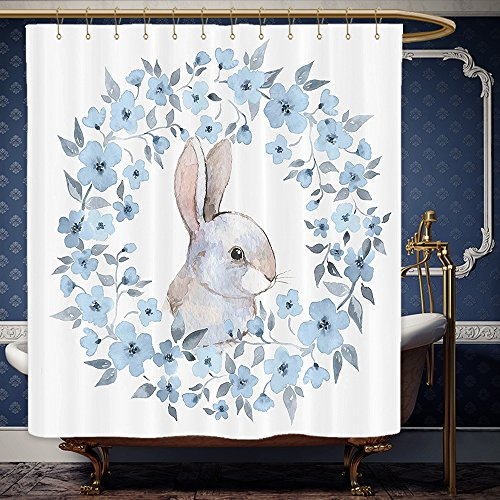 Wanranhome Custom-made shower curtain Curtains Blue Watercolor Flower Bunny Rabbit Portrait in Floral Wreath Illustration Country Style Theme Blue White Cocoa For Bathroom Decoration 72 x 108 inches