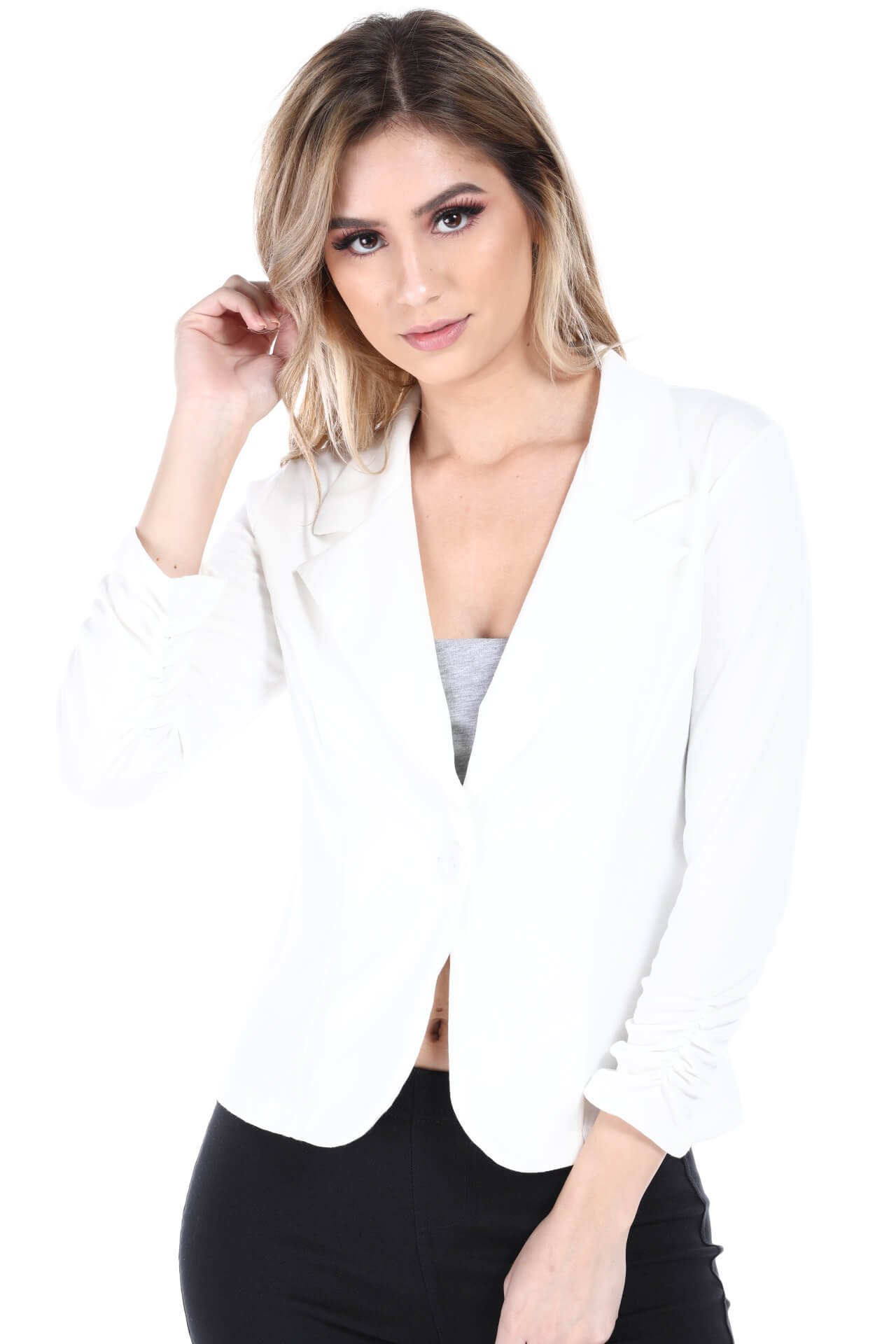 Fashion Magazine Womens One Button Office Knit Blazer Jacket,Made in USA  White,Small