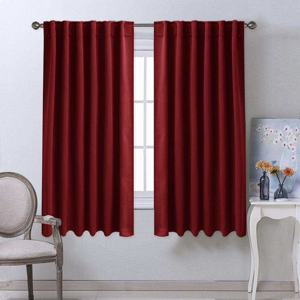 "Burgundy Bedroom Blackout Draperies Panels - Burgundy Red Color) 52"" x 63"", 2 Panels Set, Thermal Insulated Blackout Curtains / Drapes by Nicetown"