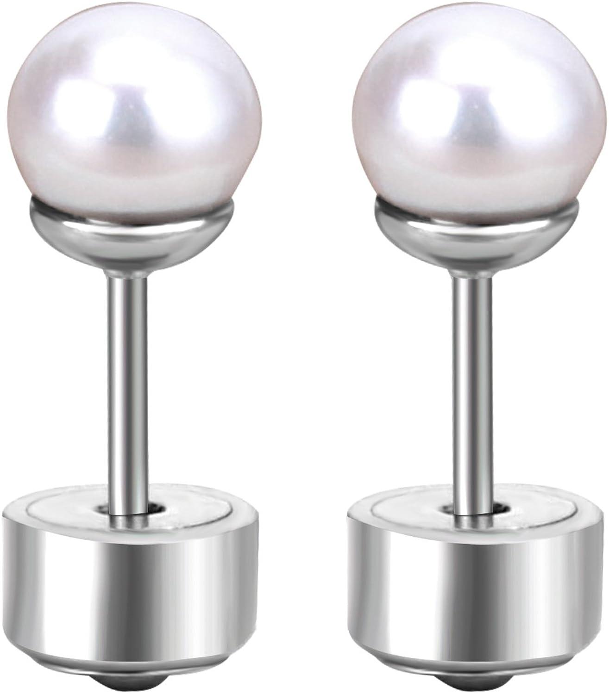 LUXU kisskids 316L Stainless Steel Pearl Stud Earrings for Kids Teen Girls Silver