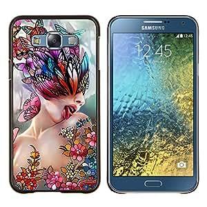 TECHCASE---Cubierta de la caja de protección para la piel dura ** Samsung Galaxy E7 E700 ** --Arte Lick Mujer Mariposa de Primavera Resumen