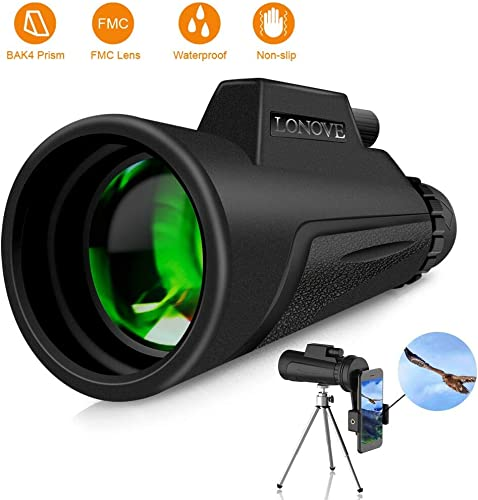 Monocular Telescope Compact Monocular – 12×50 HD High Power Monocular with Smartphone Holder and Tripod, FMC BAK4 Prism Waterproof Monocular Scope for Adults Bird Watching Hunting Hiking Camping
