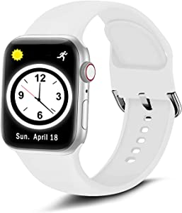 Brigtlaiff Compatible with Apple Watch Bands 38mm 40mm 42mm 44mm, Soft Silicone Sport Replacement Women Men Wristband Strap with Unique Colors Clasp for iWatch Series 6 5 4 3 2 1 SE - 42mm 44mm, White