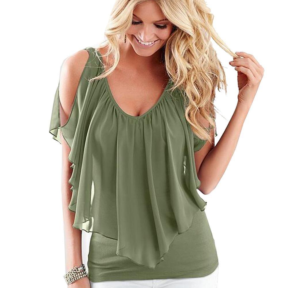 GWCSS V-Neck Chiffon Stitching Milk Silk T-Shirt Blouse