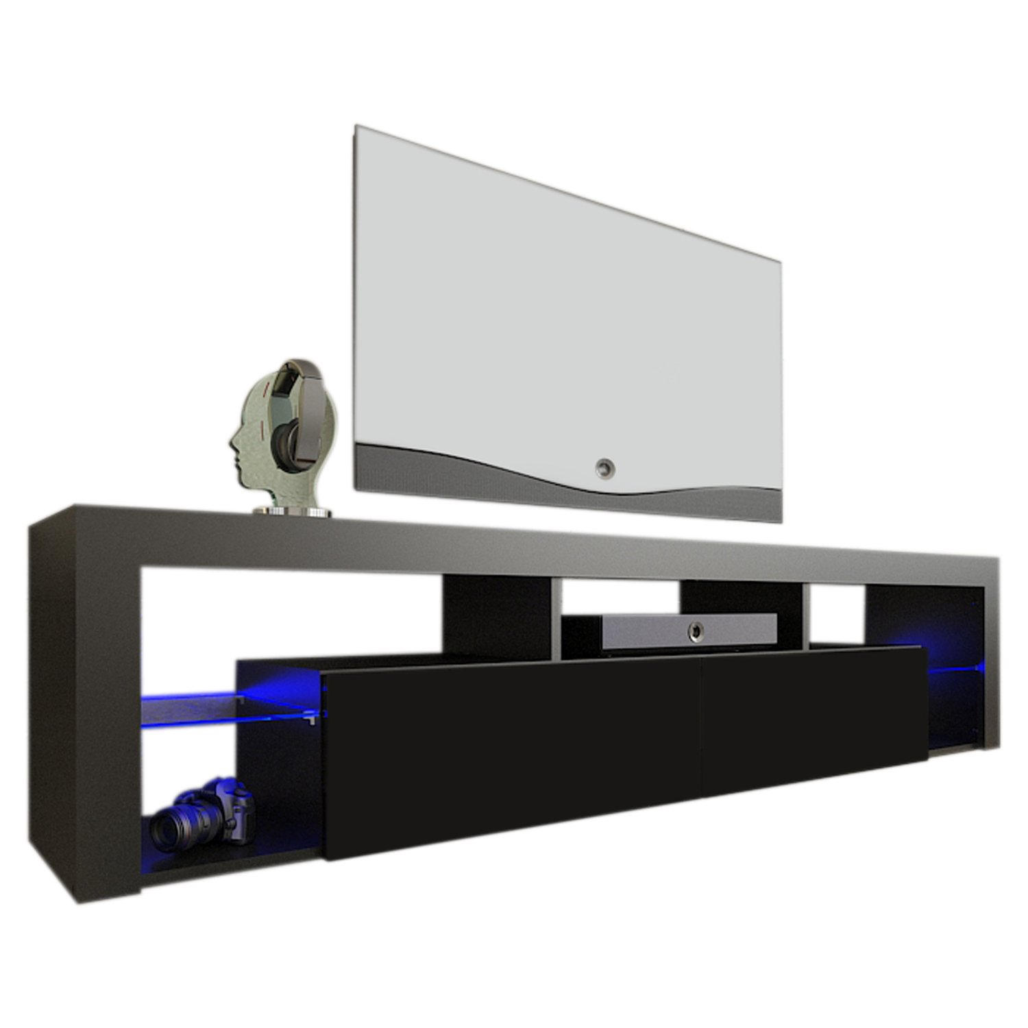Meble Furniture & Rugs TV Stand Milano 200 LED Wall Mounted Floating 79'' TV Stand (Black) by Meble Furniture & Rugs