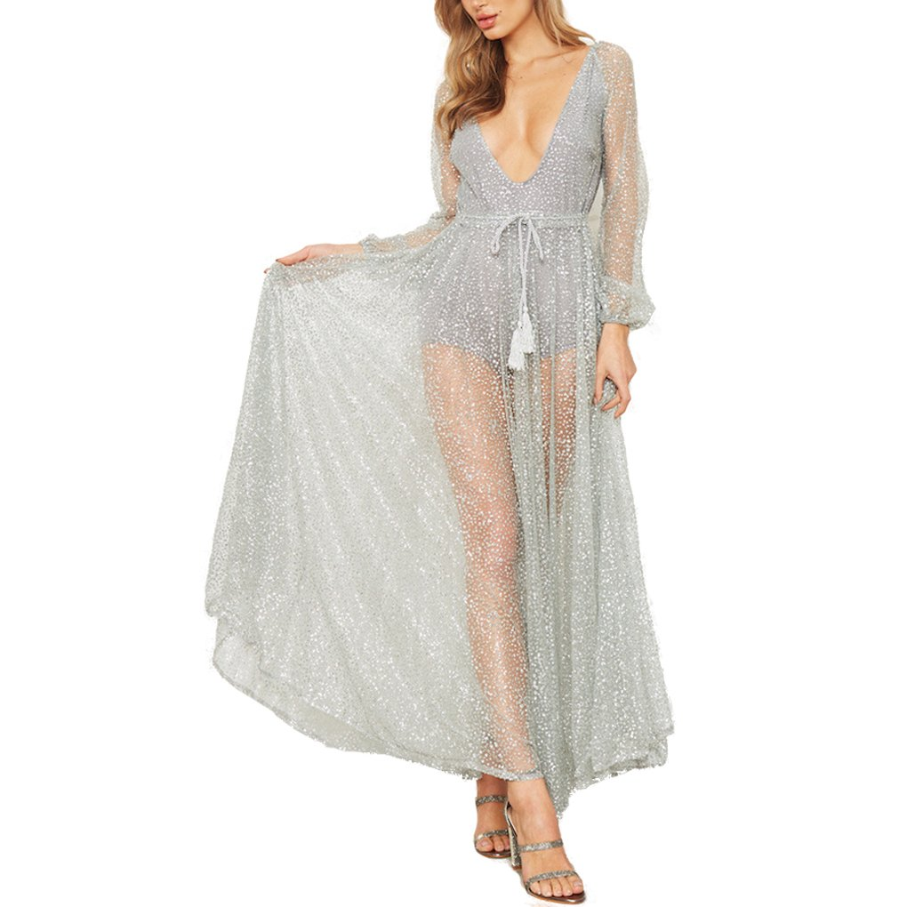 db90a220ae78 Arichtops Deep V-Neck Gauze Mesh Long Sleeve Dress See Through Backless  Maxi Mesh Sundress Evening Cocktail Club Party at Amazon Women s Clothing  store