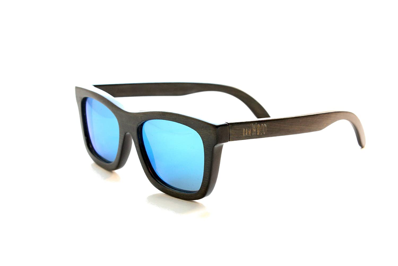 11680ff5d1 Amazon.com  RawWood Originals Black Blue Polarized Bamboo Wood Sunglasses   Clothing