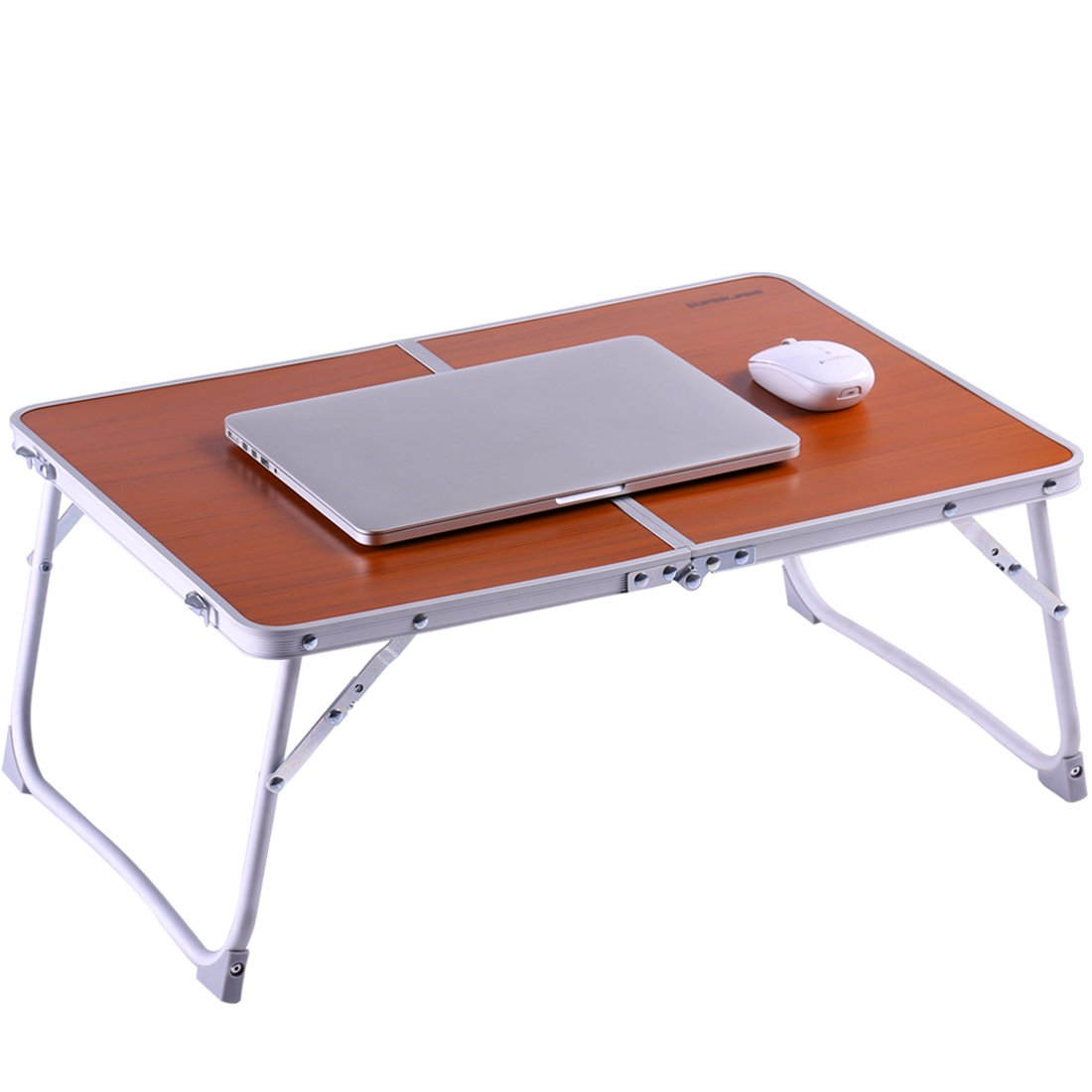 Foldable Laptop Table | Superjare Bed Desk | Breakfast Serving Bed Tray | Portable Mini Picnic Table & Ultra Lightweight | Folds in Half w' Inner Storage Space - Brown
