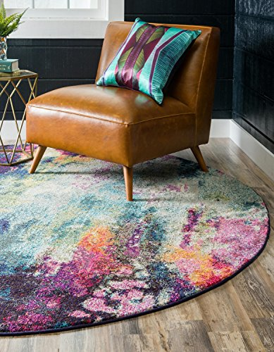 Unique Loom Chromatic Collection Abstract Modern Colorful Kids Multi Round Rug (8' 0 x 8' 0) ()