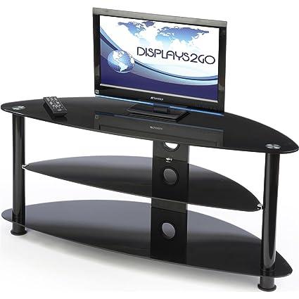 displays2go cntv60blk hdtv living room entertainment center up to 60 inch tvs corner - Glass Entertainment Center