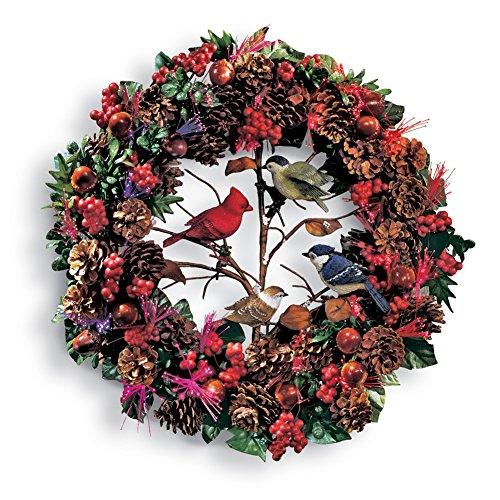 Fiber Optic Woodland Christmas Bird Wreath (Christmas Door Decor compare prices)