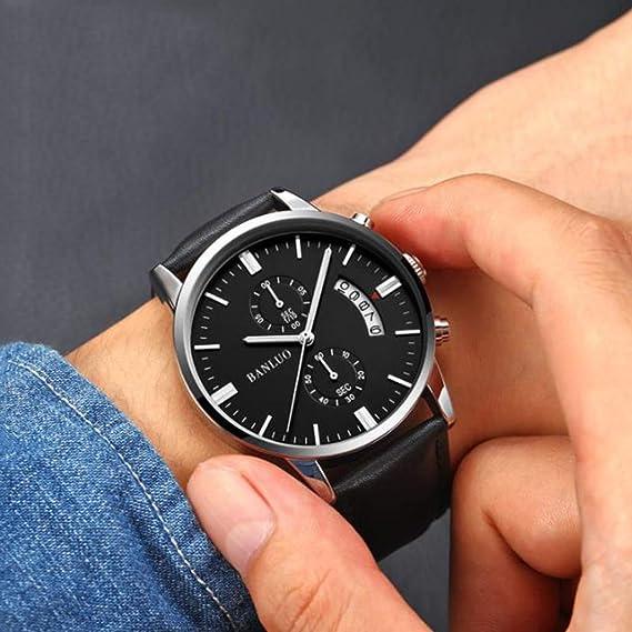 Amazon.com: FSWH LT Relojes para Hombres, Relojes De Negocios Relojes De Cuarzo De Lujo Relojes De Cuero De Acero Inoxidable A Prueba De Agua Relojes ...