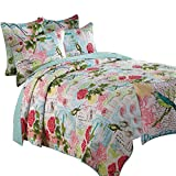 Wowelife Patchwork Comforter Set Queen Size Birds Flowers Style Patchwork Bedspreads Quilt Sets Cotton(Floral, Queen)
