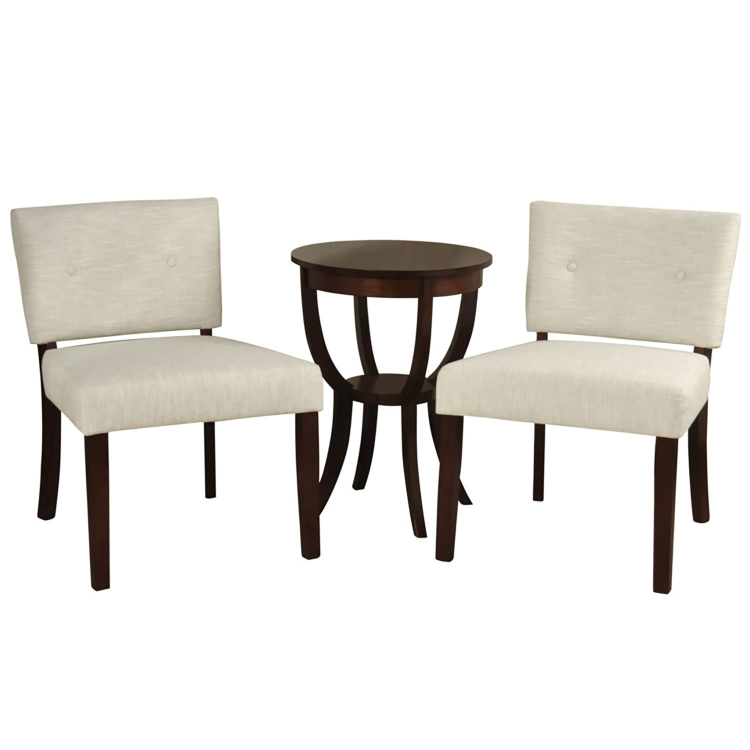 Stylecraft Button Back Pair Hardwood Slipper Chairs & Side Table (3 Piece Set)