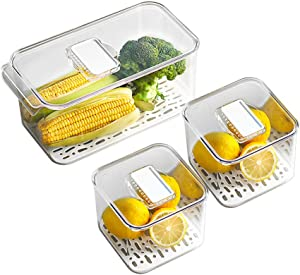 MineSign Refrigerator Organizer Bins with Lids and Removable Drain Tray Food Storage Containers Fridge Produce Saver Stackable Freezer Fresh Keeper for Kitchen Produce Fruit Vegetables (Set of 3)