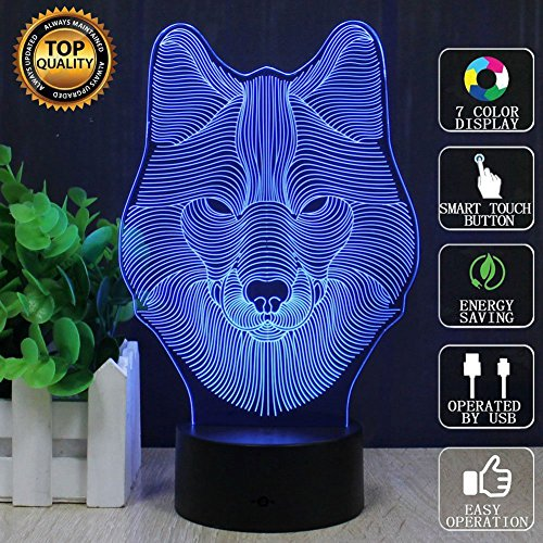 D 3D Wolves Table Lamp, 3D Led Optical Illusion Night Lights Beside Lamps, USB Touch 7 Color Changing Mood Lighting Bedroom Decor Toys Gifts for Kids Boys Girls Wolves Lover (Wolves Touch Lamp)