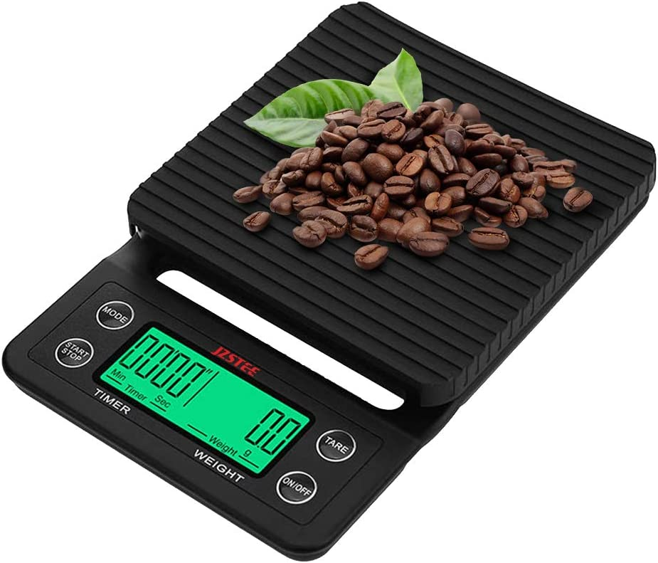 JZSTEE Scale Kitchen Coffee Scale Timer Digital Kitchen Food Kitchen Scale Weight Grams and Oz LCD Display 5kg /0.1g High Precision Cooking Scale black