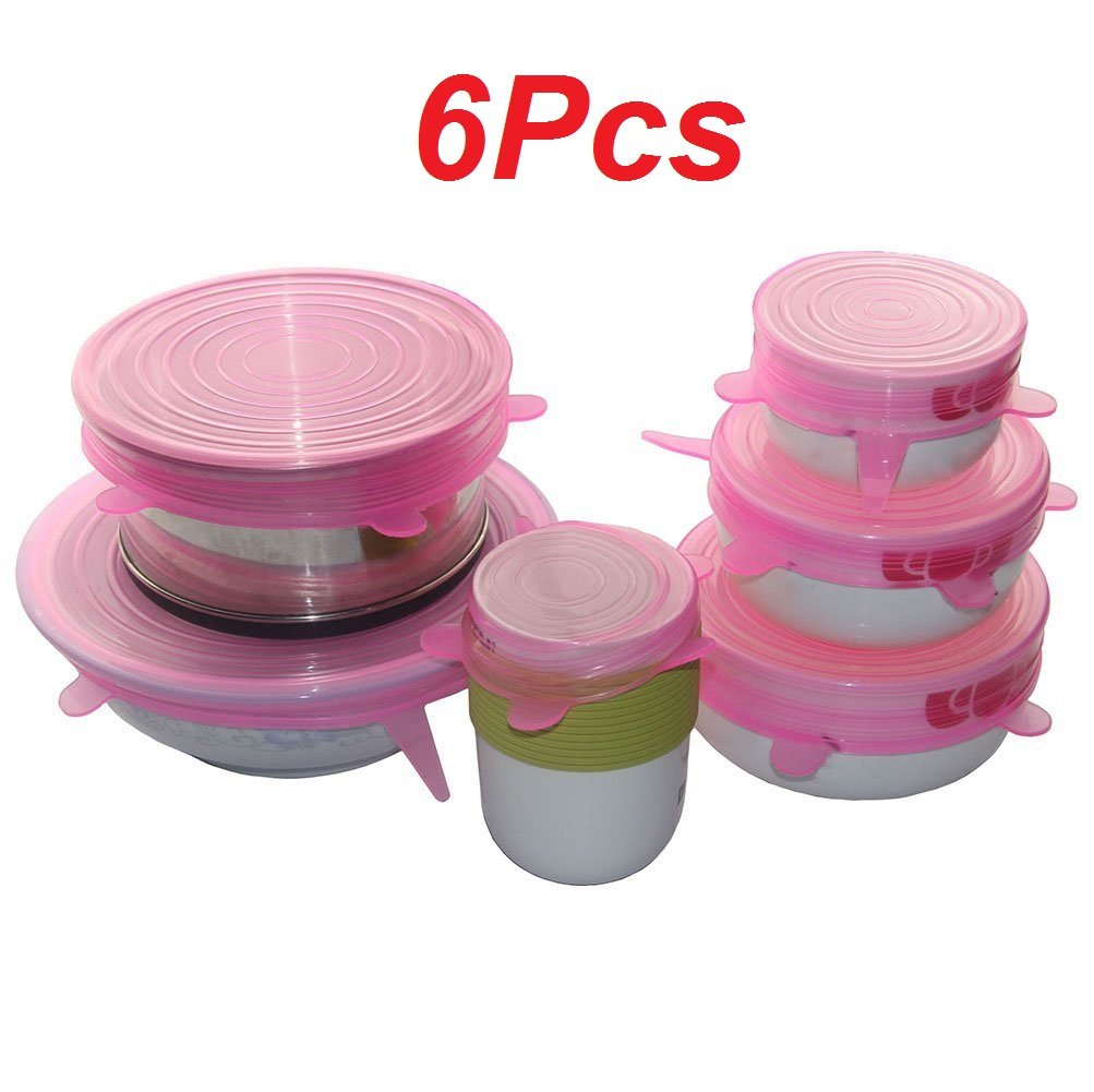 JRing Stretch and Fresh Food Wraps, 6 Pcs Various Sizes Silicone Stretch Lids Food Wrap Bowl Pot Cover Cup Lid Fresh-Care and Seal , BPA Free, Dishwasher, Microwave, Oven and Freezer Safe (Blue)