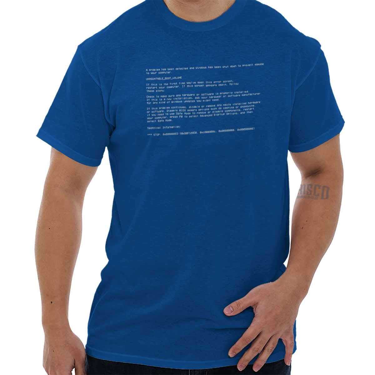 ccbb985fe14d Blue Screen of Death Virus Geeky Computers T Shirt Tee | Amazon.com