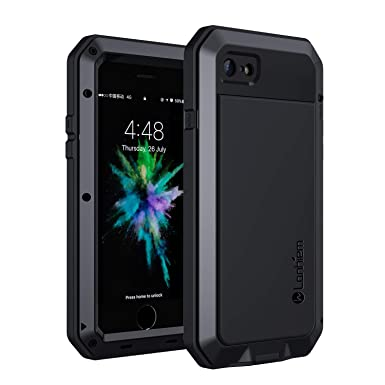 info for ce819 77fd4 Lanhiem iPhone 7/8 Case, Heavy Duty Shockproof Tough Armour Metal Case with  [Tempered Glass Screen Film], 360 Full Body Protective Case Cover for ...