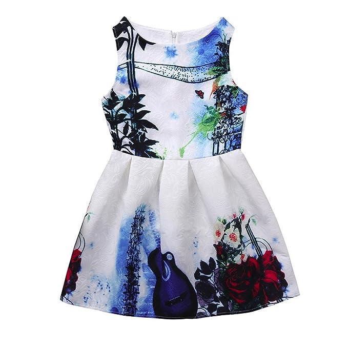 SchöN Blume Gedruckt Kleinkinder Mädchen Prinzessin Kleider Baby Mädchen A-line Schöne Baumwolle Ärmelloses Sommer Kleid Kinder Mädchen Baby Kleidung Kleider