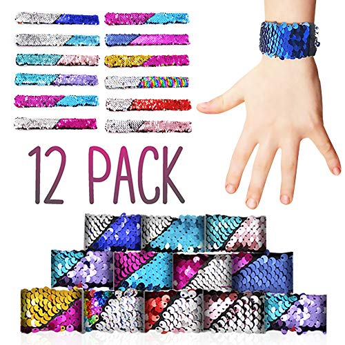 Slap Bracelets for Girls, Boys, Kids, Toddlers, Men and Women - Mermaid Color Sequins Reversible Two-Color 12pcs Toy Led Charm Bracelet - Perfect for Birthday Party Favors 12 Designs - By BucciLife