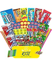 Rise The Candy Box (70+ Count) - Assorted Bulk Candy - Gift Box Care Package for Adults, Teens and Kids - Full of Delicious Goodies - Graduation Gift, Birthday Gift, or Movie Night Snacks.