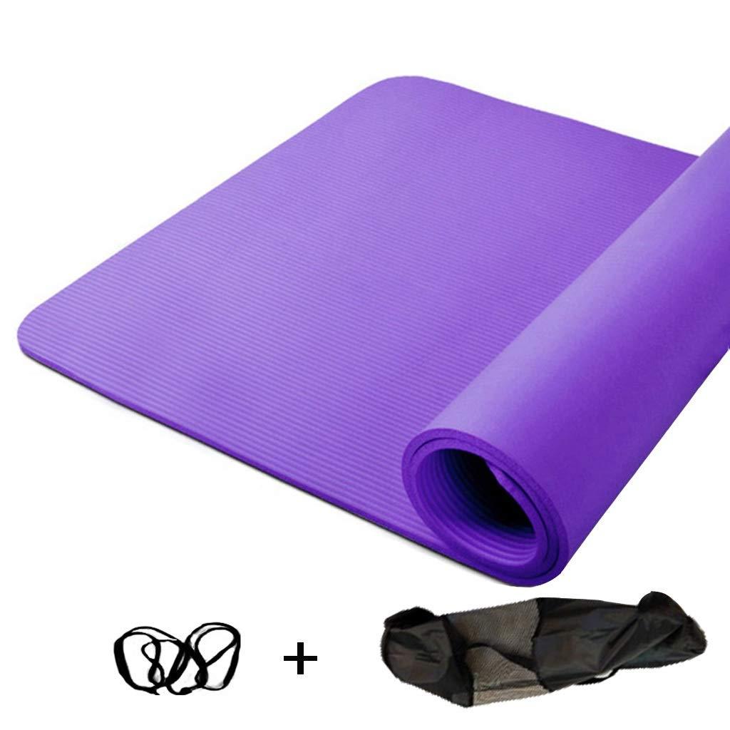 キャリングストラップ200 * 130 cm * 10 mm / 15 mmで広がる高密度ヨガマット余分厚いノンスリップフィットネスクッション (サイズ さいず : Purple-Strap rope+bag, サイズ さいず : 10mm)   B07PK3CD3N