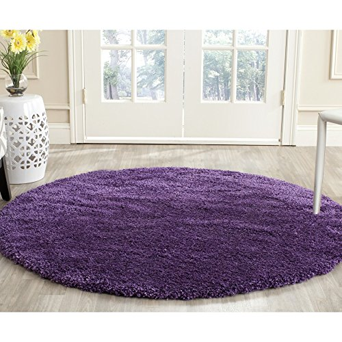 "Safavieh Milan Shag Collection SG180-7373 Purple Round Area Rug (5'1"" Diameter)"