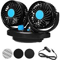 Outtybrave 12 V auto-ventilator, auto-mini-ventilator, airconditioning-ventilator, dubbele ventilator, 360 graden…