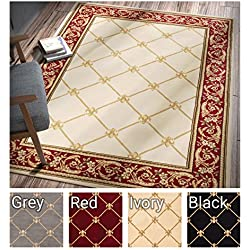 "Patrician Trellis Ivory French European Formal Traditional 5x7 (5'3"" x 7'3"") Area Rug Easy to Clean Stain/Fade Resistant Shed Free Contemporary Floral Thick Soft Plush Living Dining Room Rug"