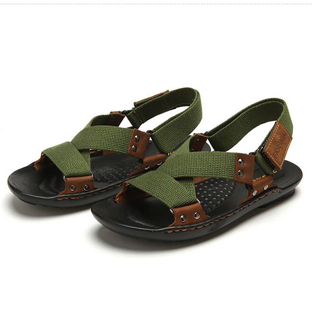 ZJM- Hombre acampar sandalias zapatos de playa cinturón tejido Summer Slipper al aire libre simple (Color : Verde, Tamaño : 41) 41 Verde