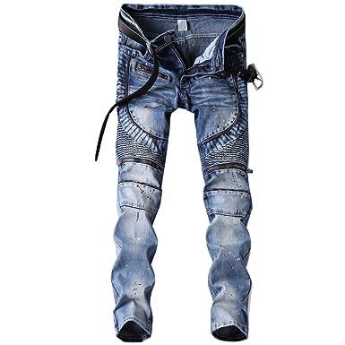 343970c0 Shunht Men's Fashion Fold Paint Embellished Jeans Slim Fit Denim Pants  Trousers Blue