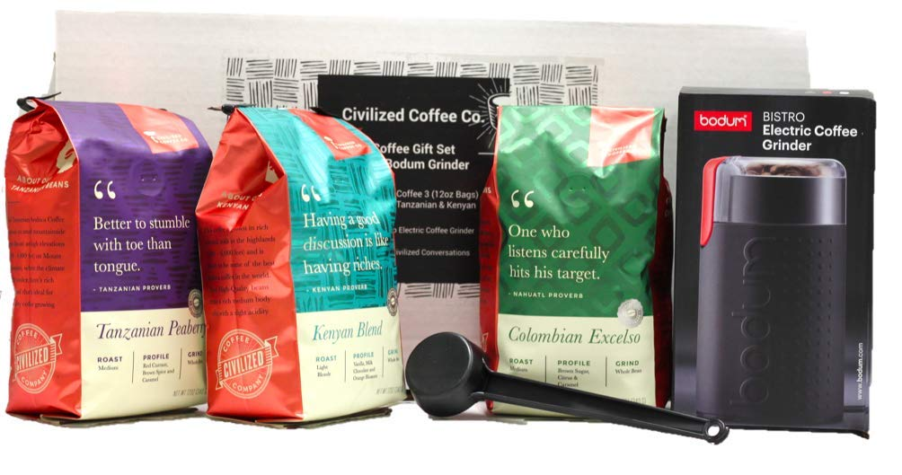 Coffee Whole Bean Premium Gift Box Set with Electric Coffee Grinder and 3 bags of Gourmet Coffee Colombia Excelso, Tanzania Peaberry & Kenya by Civilized Coffee