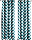 Cheap HLC.ME Chevron Print Thermal Insulated Blackout Window Curtain Panels, Pair, Chrome Grommet Top, Teal Blue