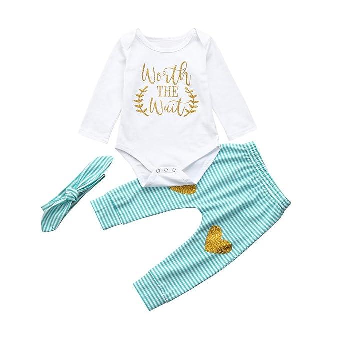Yannerr 3PCS Bebé niña niño camiseta tops letra Inferior mono+amor pantalones rayas+Vendas
