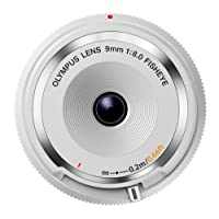 OLYMPUS Body Cap Lens Obiettivo 9 Mm 1:8.0, Fisheye, Ultrasottile, Micro Quattro Terzi, per Fotocamere OM-D e PEN, Bianco