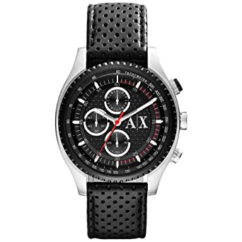 d1b7f9da13e Buy Armani Exchange Chronograph Black Dial Black Perforated Leather Mens  Watch AX1600 Online at Low Prices in India - Amazon.in
