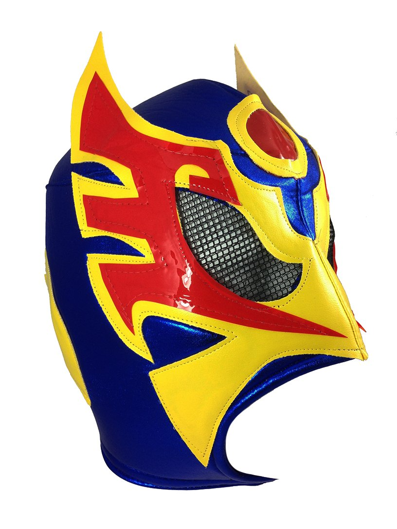 ULTIMO GUERRERO Adult Lucha Libre Wrestling Mask (pro-fit) - Blue/Yell/Red by Mask Maniac