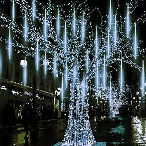 Twinkle Star Meteor Shower Rain Lights, Valentine Lights 30cm 8 Tubes 288 LED Icicle Snow Falling Christmas Lights Outdoor Raindrop Lights, Xmas Wedding Party Tree Holiday Decoration, White