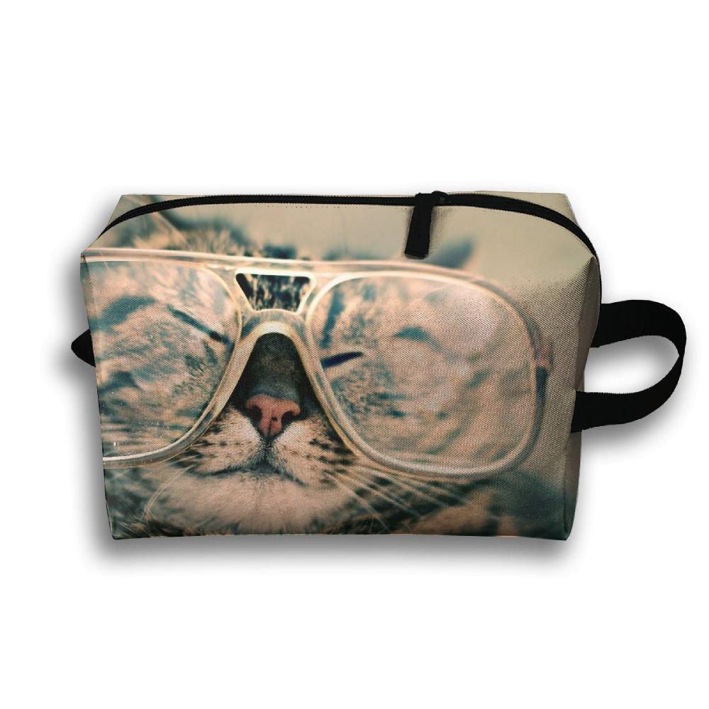 Cut Cat With Glasses Cosmetic Bags Makeup Organizer Bag Pouch Zipper Purse Handbag Clutch Bag