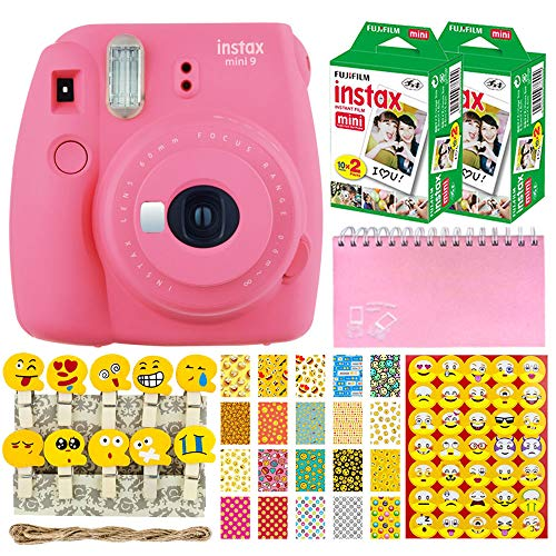 Fujifilm Instax Mini 9 Instant Camera (Flamingo Pink) + Fujifilm Instax Mini Twin Pack Instant Film (40 Shots) + Scrapbooking Album + 20 Sticker Frames Emoji Package + Emoji Photo Peg Pins + Stickers ()